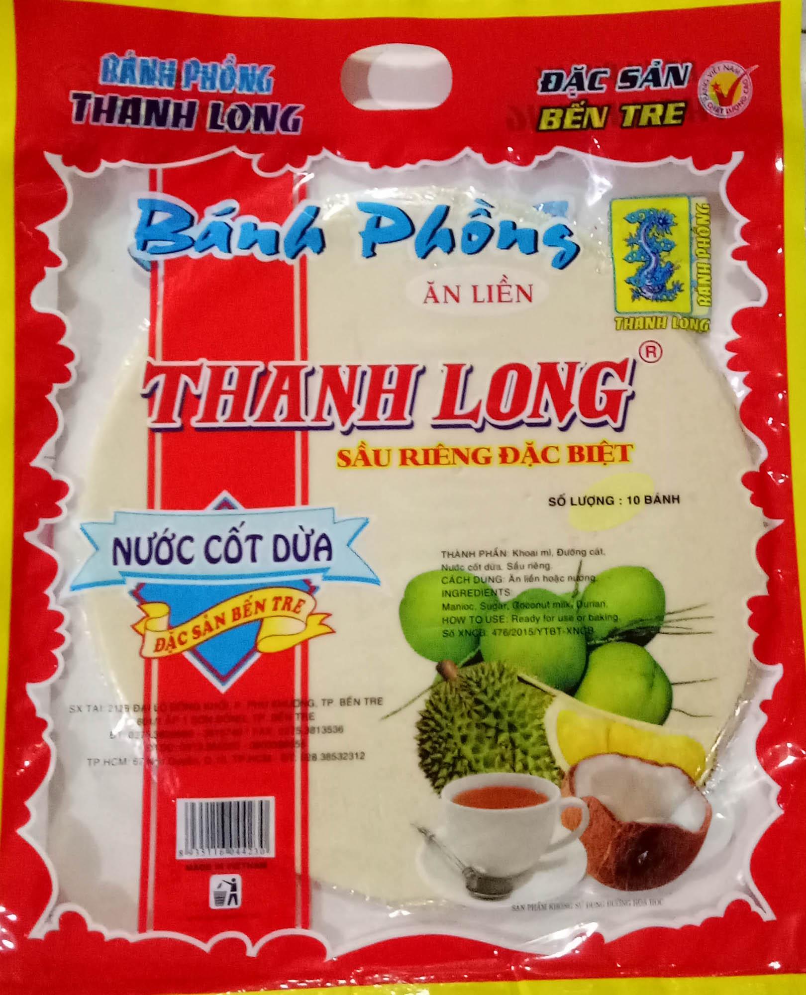Bánh phồng sữa sầu riêng nước cốt dừa Thanh Long (Bịch 10 bánh)