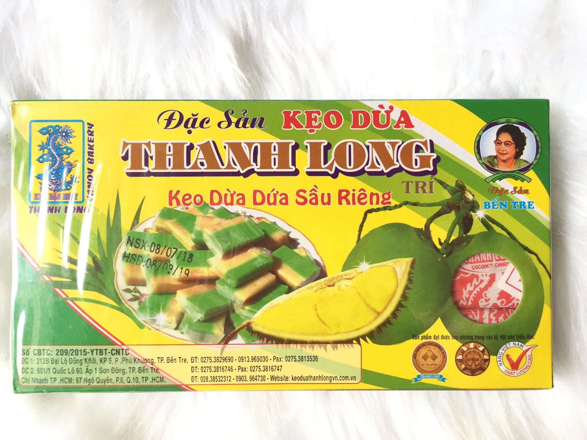 Kẹo dừa bến tre sầu riêng lá dứa